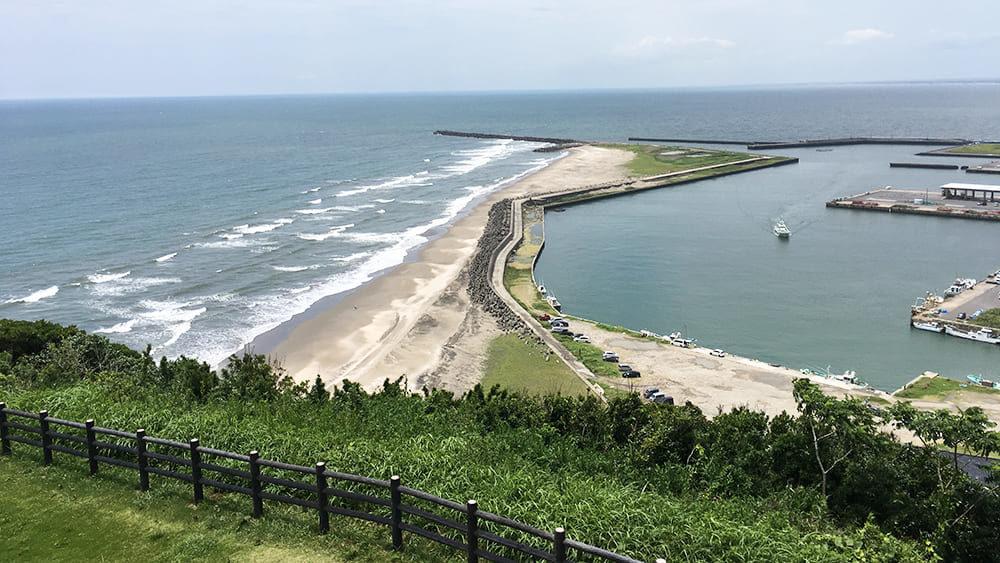 刑部岬から見た飯岡漁港 大堤防